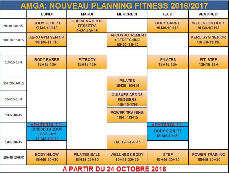 Nouveauté dans les plannings Fitness et Musculation