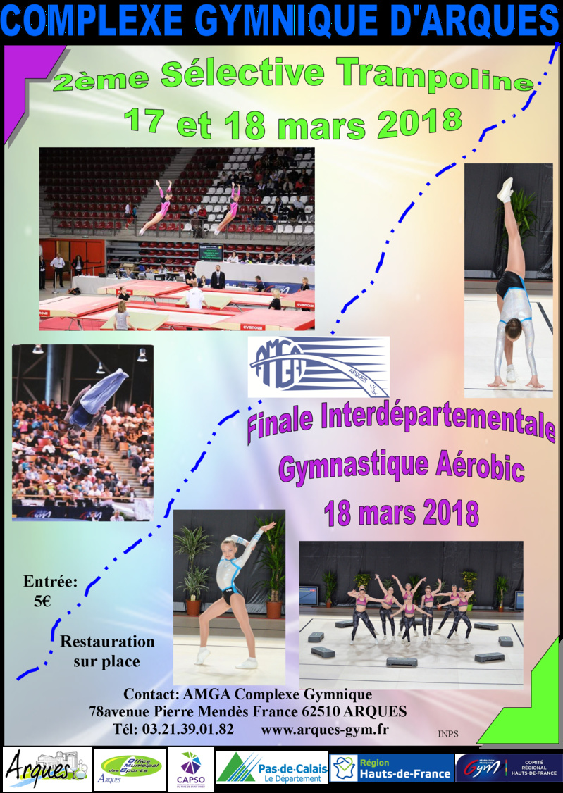 2ème Sélective Trampoline et Finales Interdépartementales de Gymnastique Aérobic 17 et 18 mars 2018
