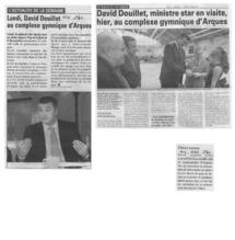 David Douillet, ministre des Sports, a visité, hier, dans le Pas-de-Calais, des installations créées pour servir de base arrière aux Jeux olympiques de Londres. Après Le Touquet et avant Saint-Laurent-Blangy, il est passé au complexe gymnique