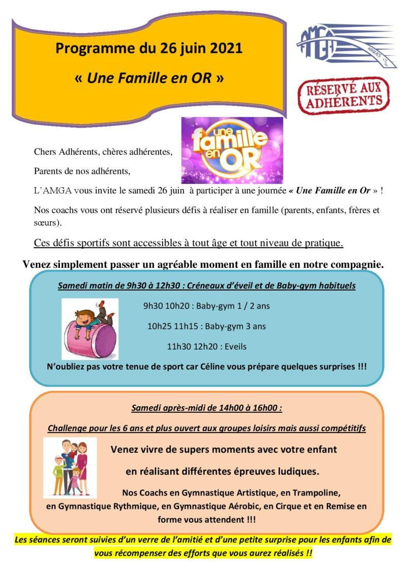 """Une Famille en Or"": Journée festive du samedi 26 juin 2021"