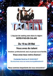 Casting Incroyable Talent du 19 au 29 mai 2016