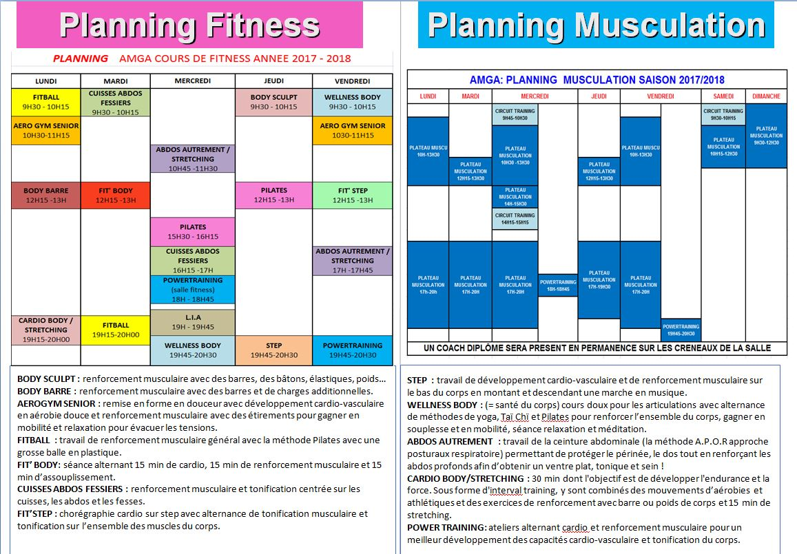Planning Fitness et Musculation