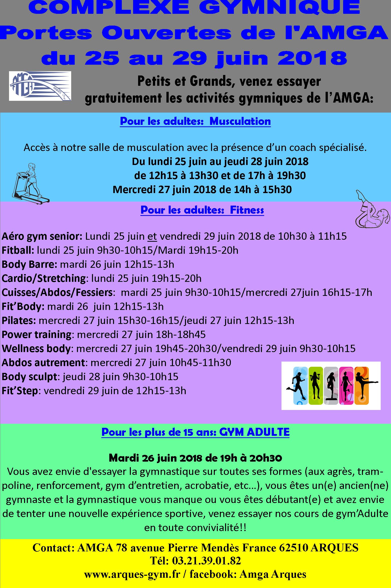 Portes ouvertes de l'AMGA du 25 au 29 juin 2018 au complexe gymnique