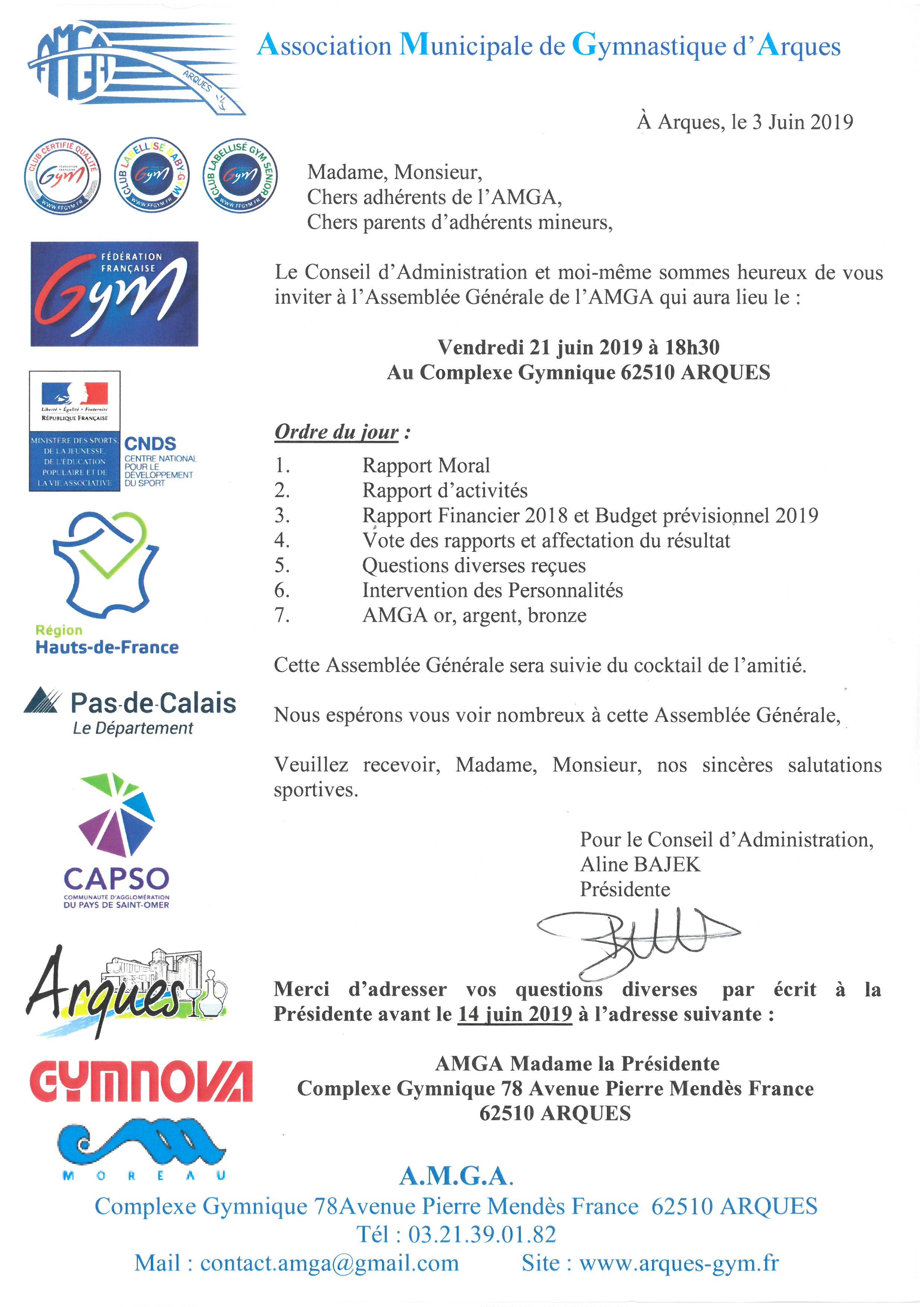 CONVOCATION ASSEMBLEE GENERALE DE L'AMGA