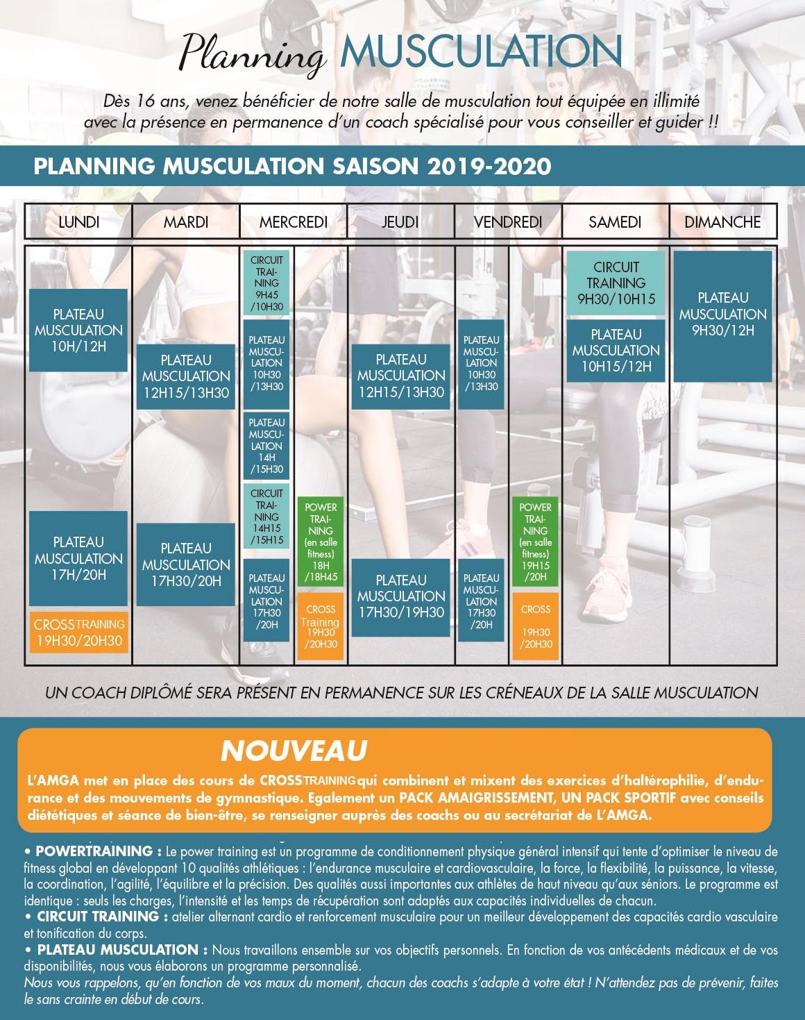 Planning Musculation et CrossTraining