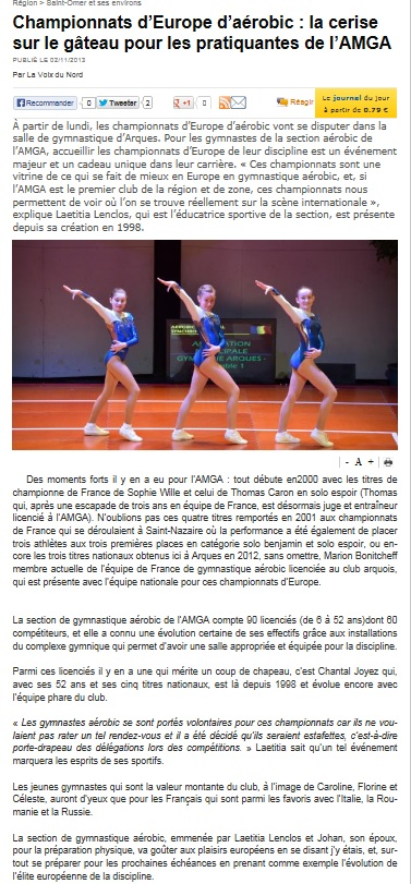 CHAMPIONNAT D'EUROPE DE GYMNASTIQUE AEROBIC PHOTOS ET ARTICLES