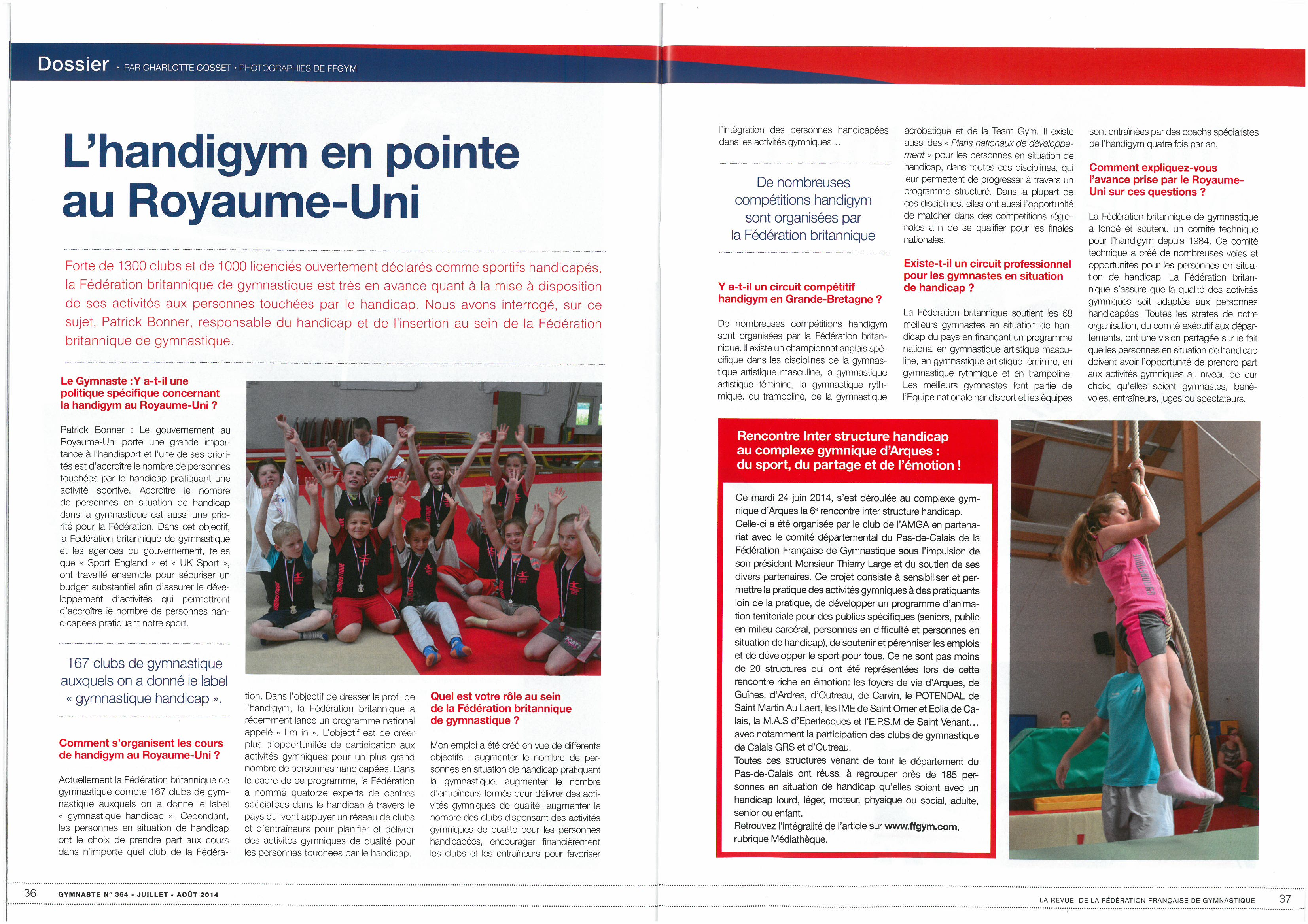 Article Gymnaste Magazine Rencontre Interhandicap