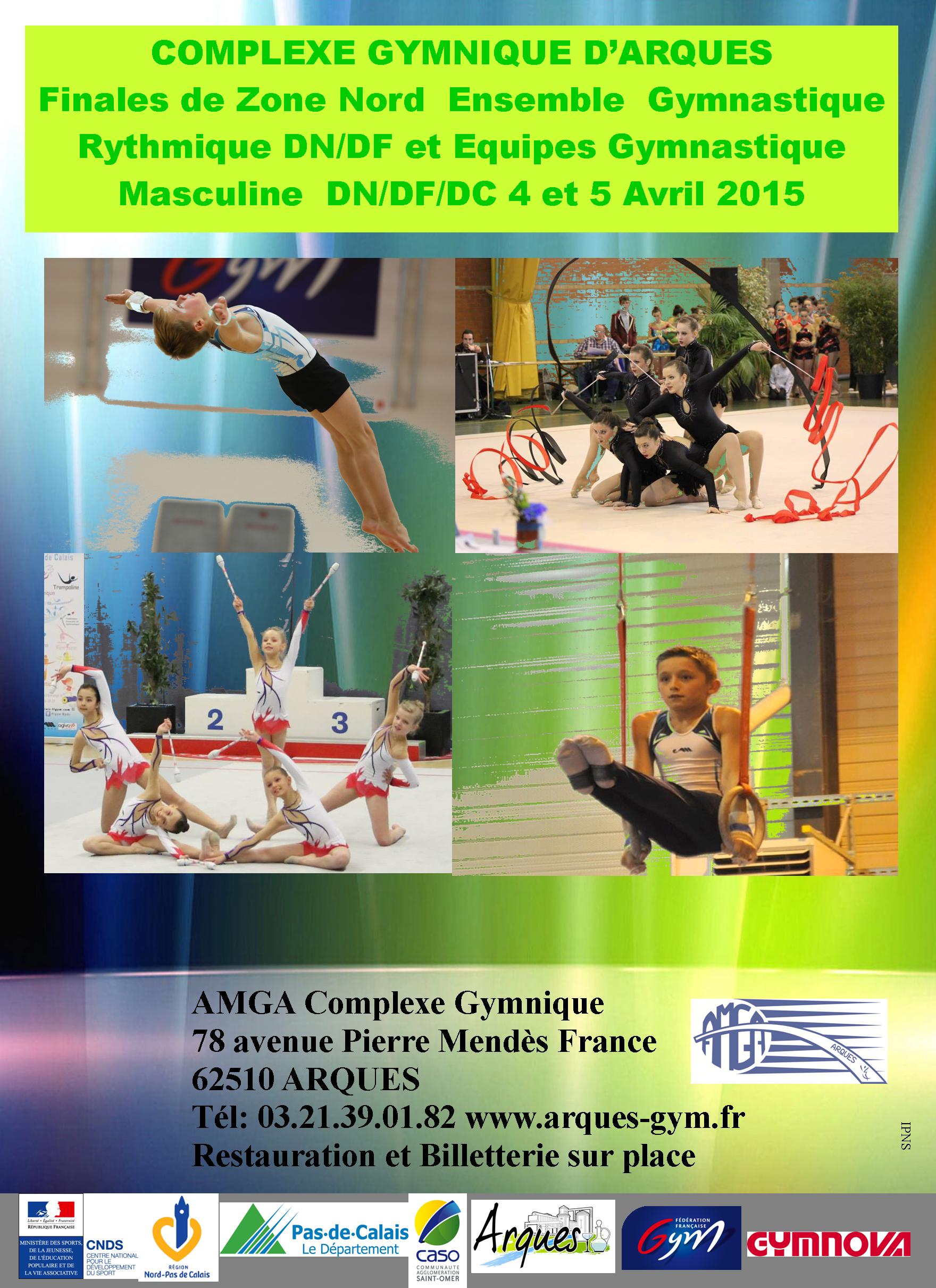 L'AMGA organise les 4 et 5 avril prochains au complexe gymnique d'Arques les finales de Zone Ensemble Gr et Equipe GAM.