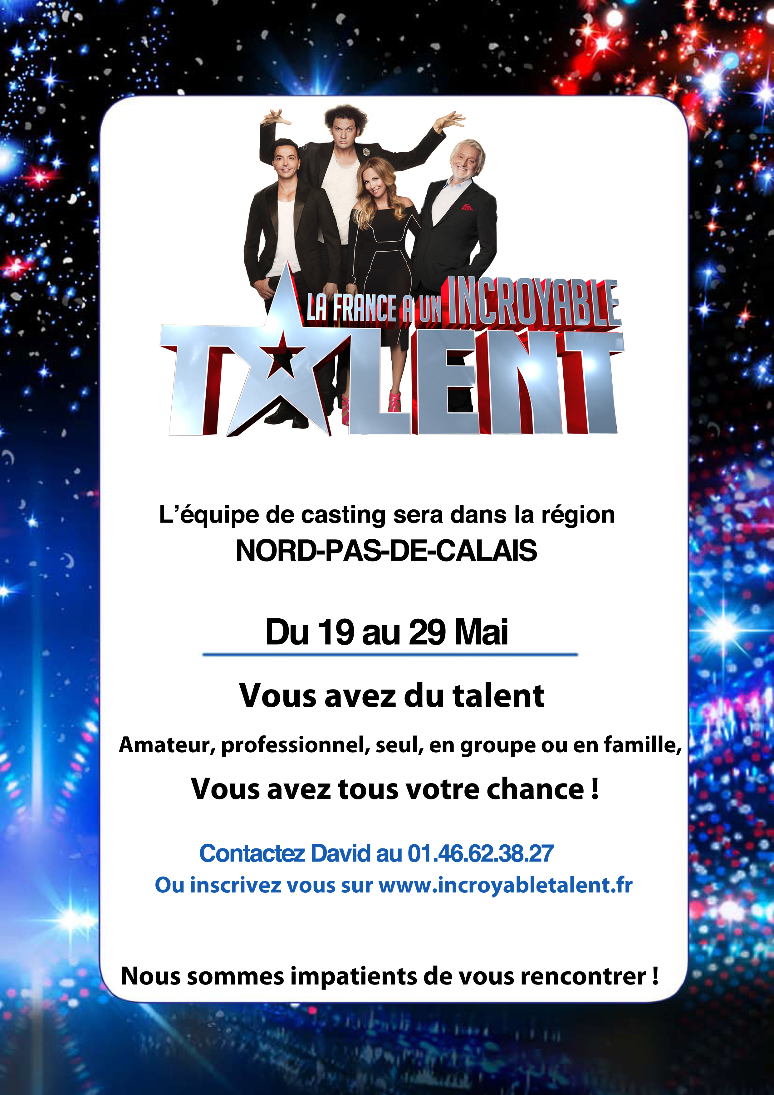 Casting Incroyable Talent du 19 au 29 mai 2016